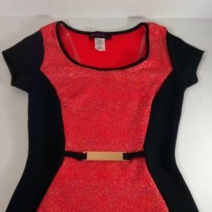 Womens Coral and Black Midi Dress